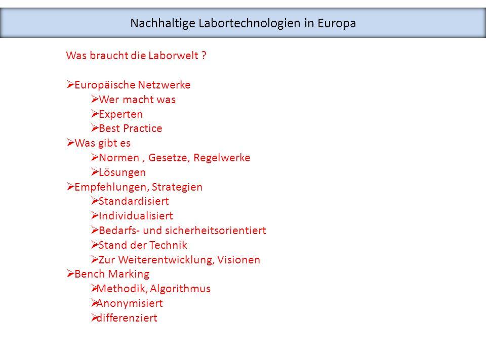 Nachhaltige Labortechnologien in Europa Was braucht die Laborwelt ? Europäische Netzwerke Wer macht was Experten Best Practice Was gibt es Normen, Ges