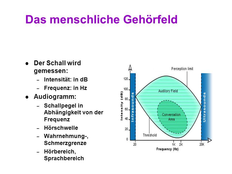 8 Das menschliche Gehörfeld Frequenzbereich von 20 bis 20.000 Hz (altersabhängig) Frequenzbereich von 20 bis 20.000 Hz (altersabhängig) Schallpegel vo