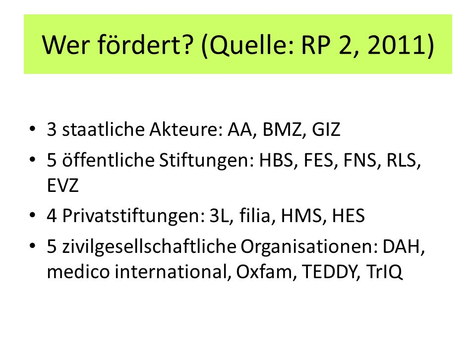 Wer fördert? (Quelle: RP 2, 2011) 3 staatliche Akteure: AA, BMZ, GIZ 5 öffentliche Stiftungen: HBS, FES, FNS, RLS, EVZ 4 Privatstiftungen: 3L, filia,