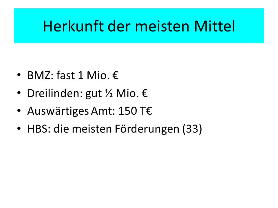 Herkunft der meisten Mittel BMZ: fast 1 Mio. Dreilinden: gut ½ Mio.