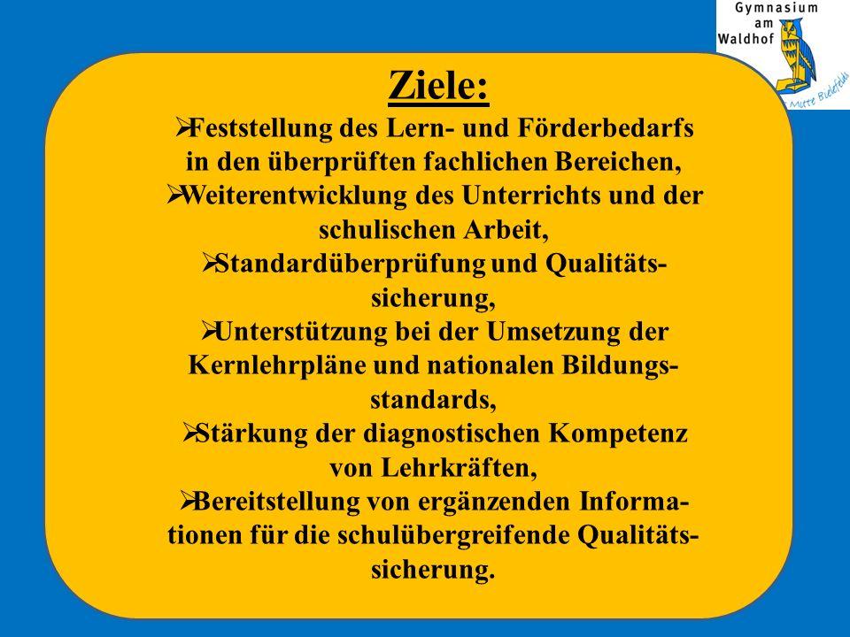 Inhalte Lernstandserhebungen werden in den Fächern Deutsch, Mathematik und Englisch durchgeführt.