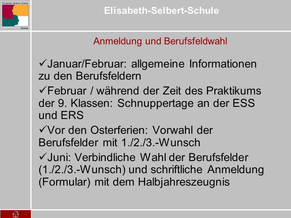 Elisabeth-Selbert-Schule Anmeldung und Berufsfeldwahl Januar/Februar: allgemeine Informationen zu den Berufsfeldern Februar / während der Zeit des Pra