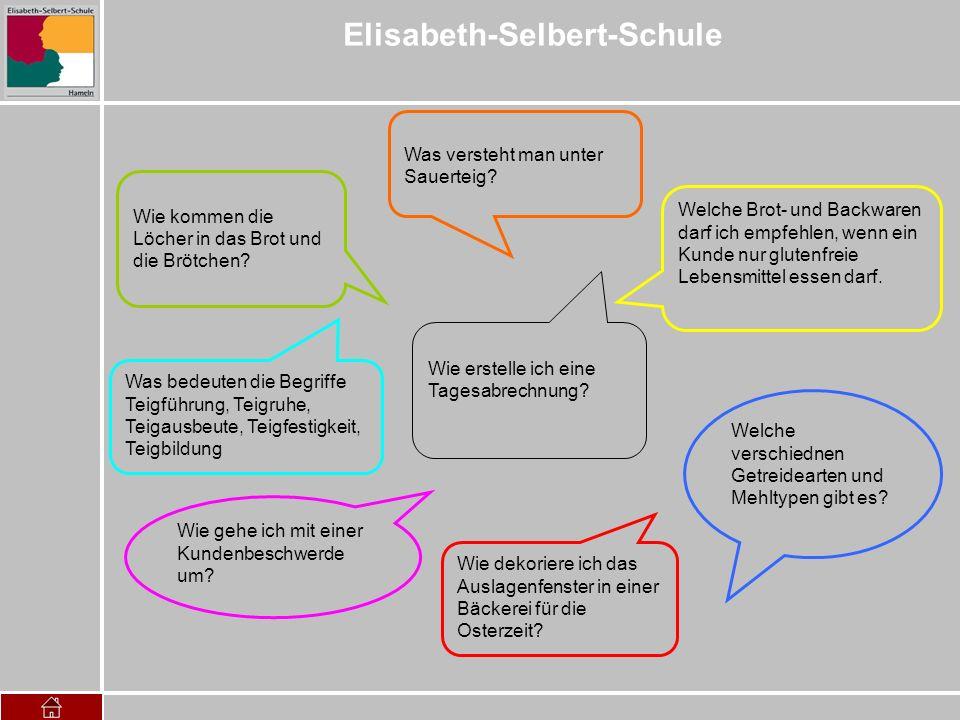 Elisabeth-Selbert-Schule Was versteht man unter Sauerteig? Wie erstelle ich eine Tagesabrechnung? Wie kommen die Löcher in das Brot und die Brötchen?