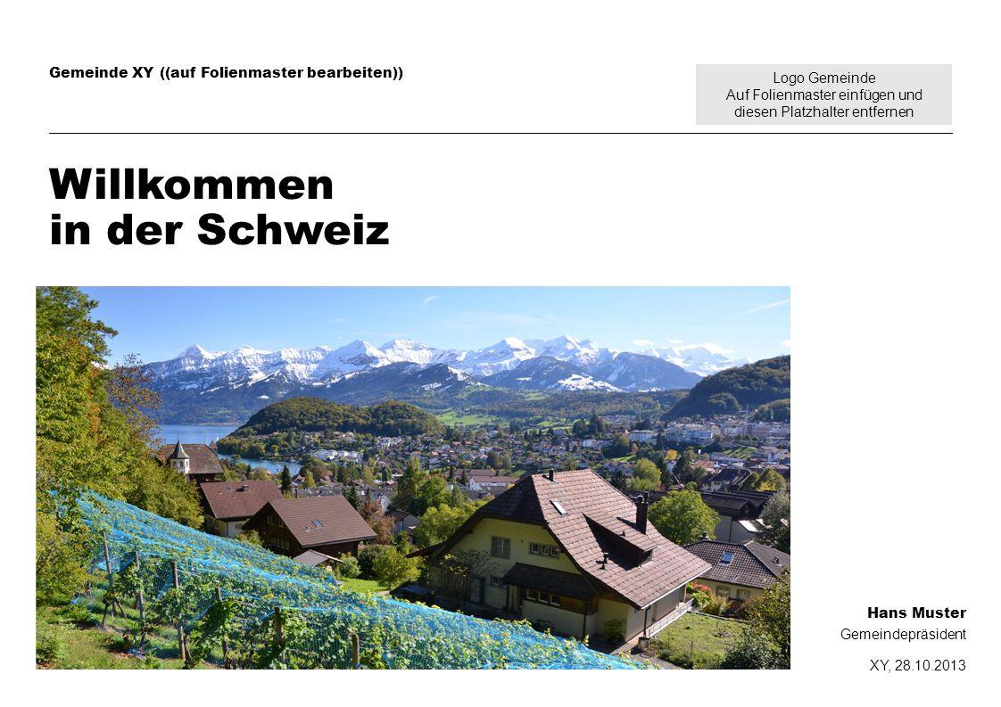 Logo Gemeinde Auf Folienmaster einfügen und diesen Platzhalter entfernen Gemeinde XY ((auf Folienmaster bearbeiten)) Willkommen in der Schweiz Hans Mu