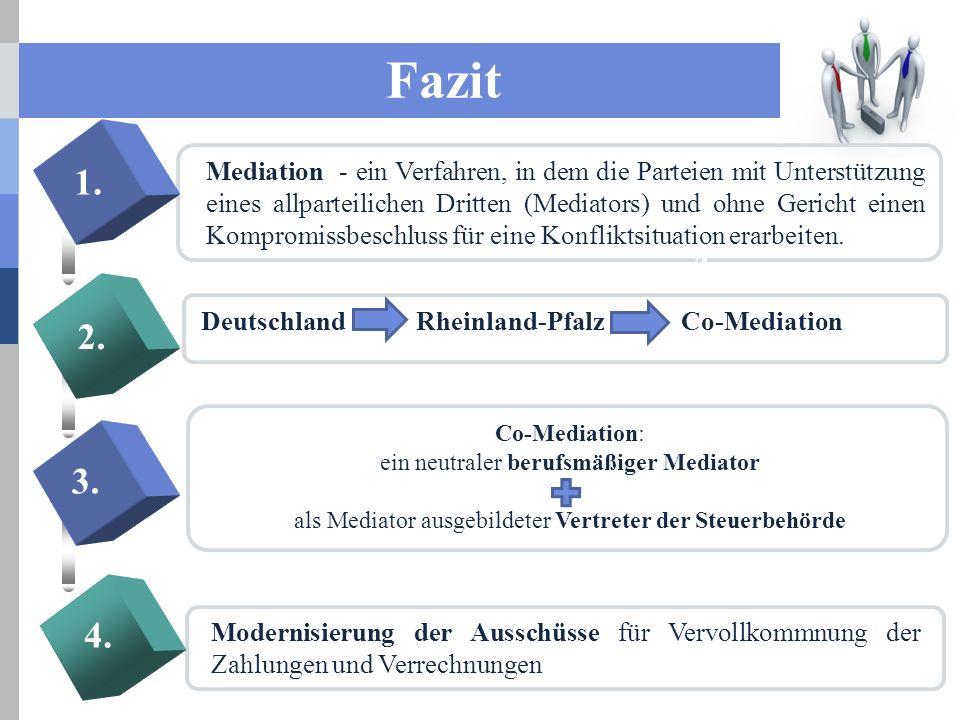 Fazit Mediation - ein Verfahren, in dem die Parteien mit Unterstützung eines allparteilichen Dritten (Mediators) und ohne Gericht einen Kompromissbeschluss für eine Konfliktsituation erarbeiten.