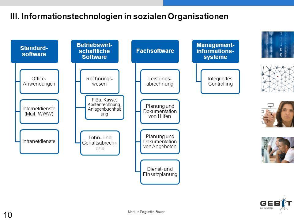 III. Informationstechnologien in sozialen Organisationen Markus Poguntke-Rauer 10 Standard- software Office- Anwendungen Internetdienste (Mail, WWW) I