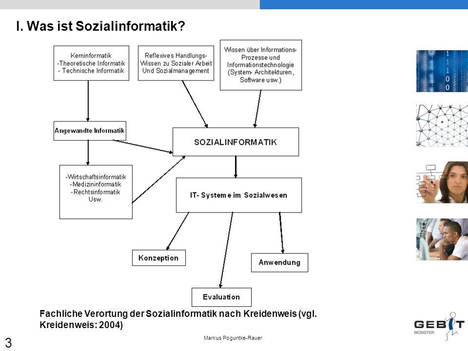 I. Was ist Sozialinformatik? Markus Poguntke-Rauer 3 Fachliche Verortung der Sozialinformatik nach Kreidenweis (vgl. Kreidenweis: 2004)