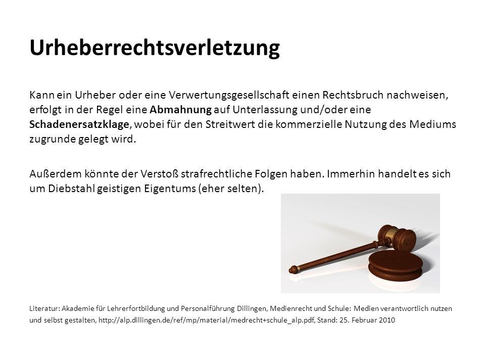 Urheberrechtsverletzung Kann ein Urheber oder eine Verwertungsgesellschaft einen Rechtsbruch nachweisen, erfolgt in der Regel eine Abmahnung auf Unter
