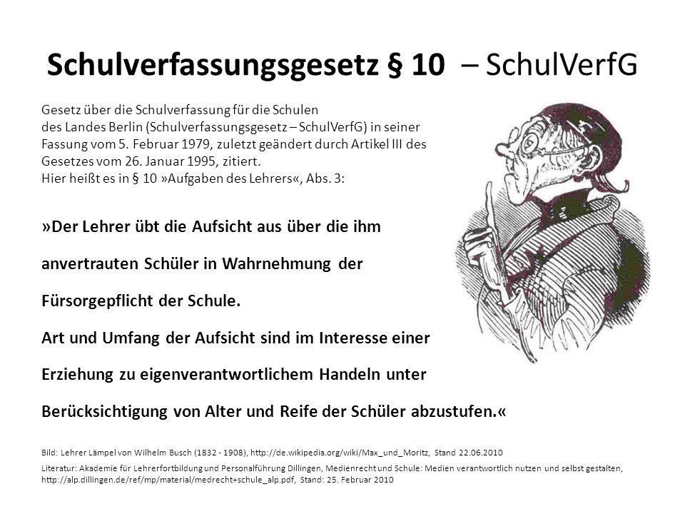 Schulverfassungsgesetz § 10 – SchulVerfG Gesetz über die Schulverfassung für die Schulen des Landes Berlin (Schulverfassungsgesetz – SchulVerfG) in se