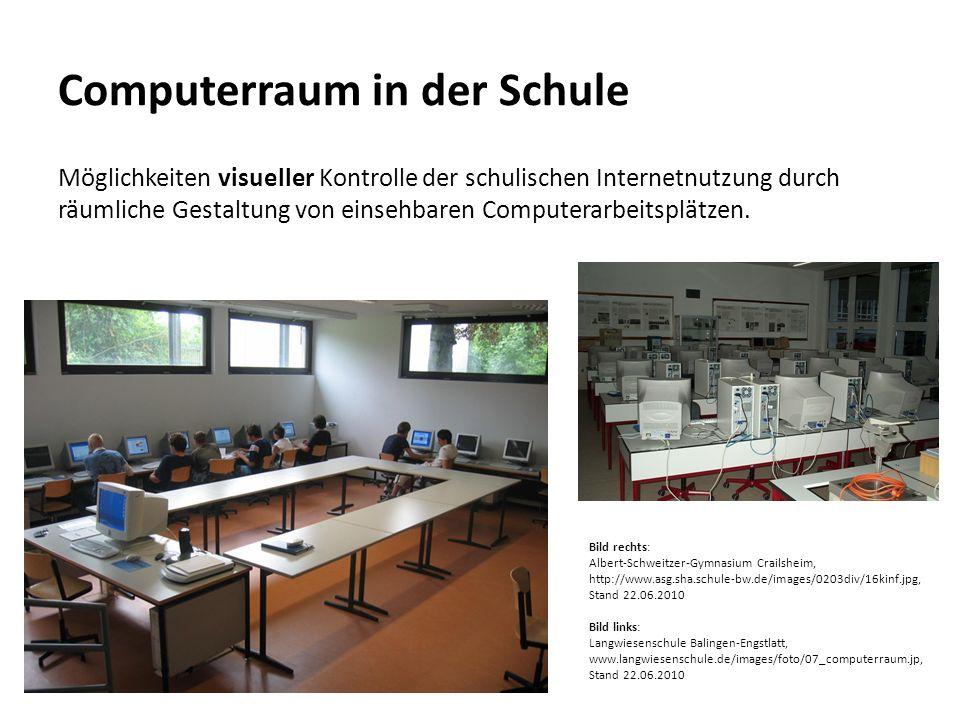 Computerraum in der Schule Möglichkeiten visueller Kontrolle der schulischen Internetnutzung durch räumliche Gestaltung von einsehbaren Computerarbeit