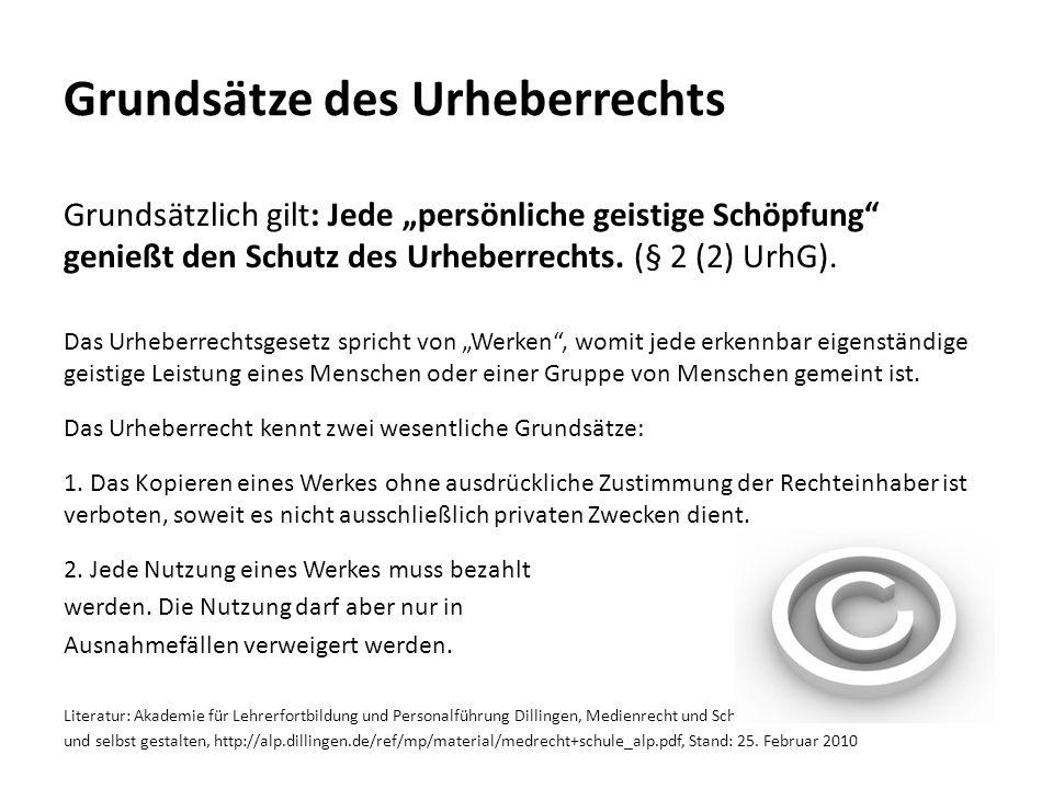 Grundsätze des Urheberrechts Grundsätzlich gilt: Jede persönliche geistige Schöpfung genießt den Schutz des Urheberrechts. (§ 2 (2) UrhG). Das Urheber
