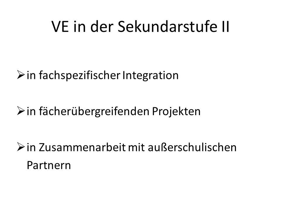 VE in der Sekundarstufe II in fachspezifischer Integration in fächerübergreifenden Projekten in Zusammenarbeit mit außerschulischen Partnern