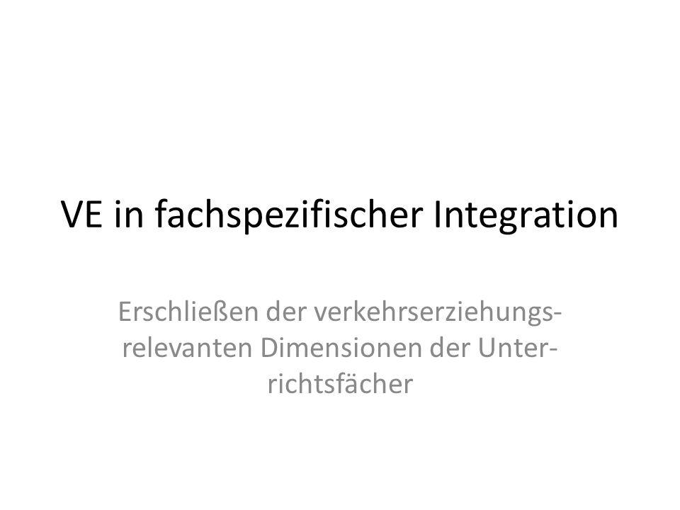 VE in fachspezifischer Integration Erschließen der verkehrserziehungs- relevanten Dimensionen der Unter- richtsfächer