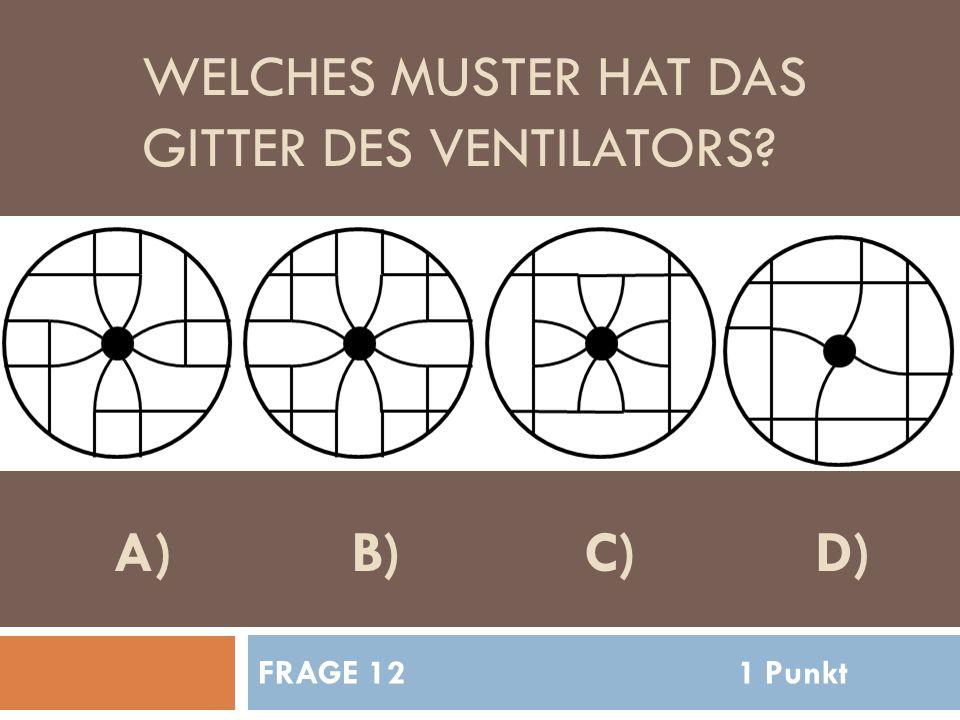 WELCHES MUSTER HAT DAS GITTER DES VENTILATORS FRAGE 121 Punkt A)B)C)D)