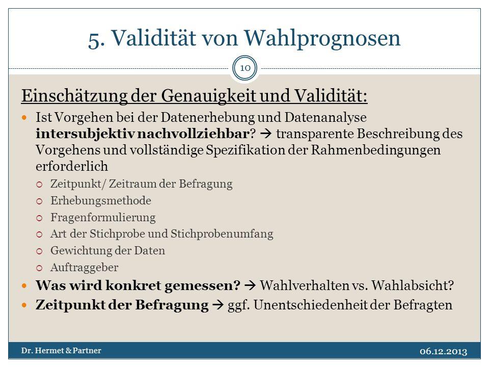 5. Validität von Wahlprognosen Einschätzung der Genauigkeit und Validität: Ist Vorgehen bei der Datenerhebung und Datenanalyse intersubjektiv nachvoll