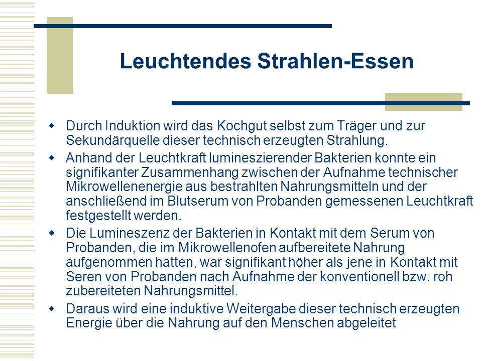 Wirkungen von Mikrowellenstrahlungen (1) In einem Bericht des Instituts für Strahlenhygiene des Deutschen Bundesgesundheitsamtes (BGA) von 1980, bei dem 16 Arbeiten vergleichend ausgewertet wurden, werden folgende Wirkungen von Mikrowellenstrahlungen thermischer und nicht- thermischer Art beschrieben: