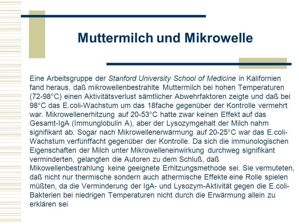 Noch ein Milch-Beispiel Eine weitere an Milch durchgeführte Untersuchung ergab Aminosäureveränderungen in Nahrungsmittelproteinen nach Mikrowellenbehandlung, die bei konventioneller Erwärmung nicht zu beobachten waren.