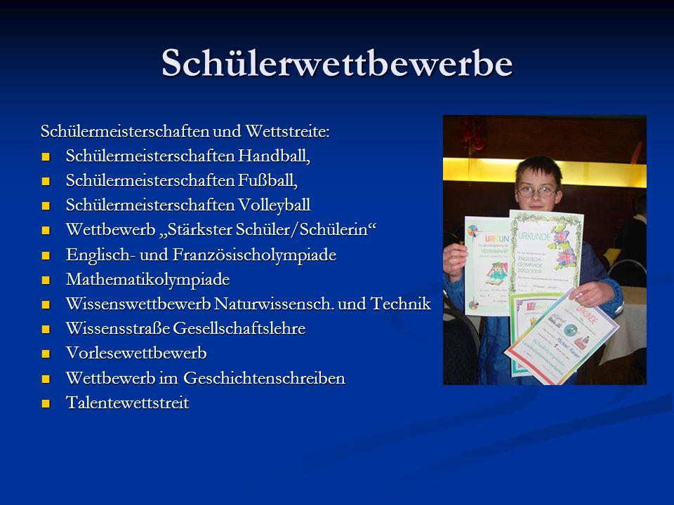 Schülerwettbewerbe Schülermeisterschaften und Wettstreite: Schülermeisterschaften Handball, Schülermeisterschaften Handball, Schülermeisterschaften Fu