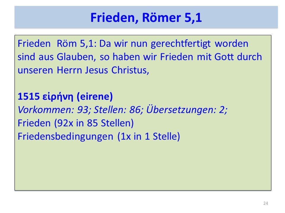 Frieden Röm 5,1: Da wir nun gerechtfertigt worden sind aus Glauben, so haben wir Frieden mit Gott durch unseren Herrn Jesus Christus, 1515 ερνη (eiren