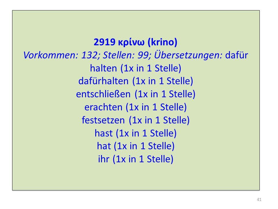 2919 κρνω (krino) Vorkommen: 132; Stellen: 99; Übersetzungen: dafür halten (1x in 1 Stelle) dafürhalten (1x in 1 Stelle) entschließen (1x in 1 Stelle)