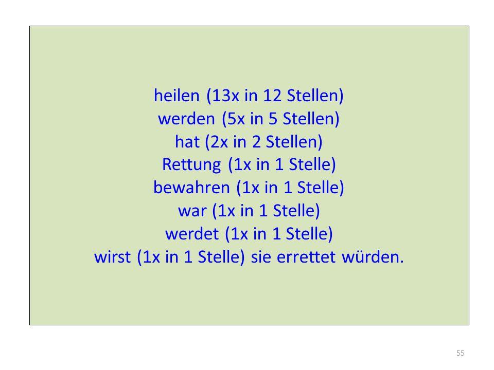 heilen (13x in 12 Stellen) werden (5x in 5 Stellen) hat (2x in 2 Stellen) Rettung (1x in 1 Stelle) bewahren (1x in 1 Stelle) war (1x in 1 Stelle) werdet (1x in 1 Stelle) wirst (1x in 1 Stelle) sie errettet würden.