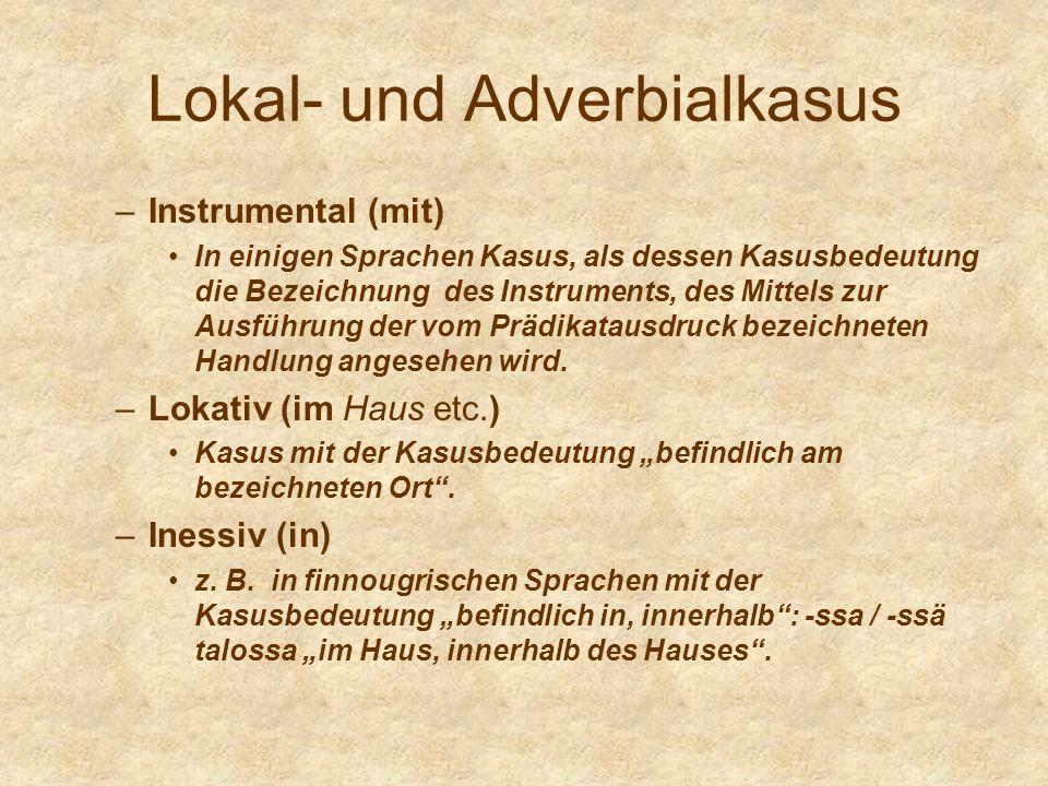 Lokal- und Adverbialkasus –Instrumental (mit) In einigen Sprachen Kasus, als dessen Kasusbedeutung die Bezeichnung des Instruments, des Mittels zur Au