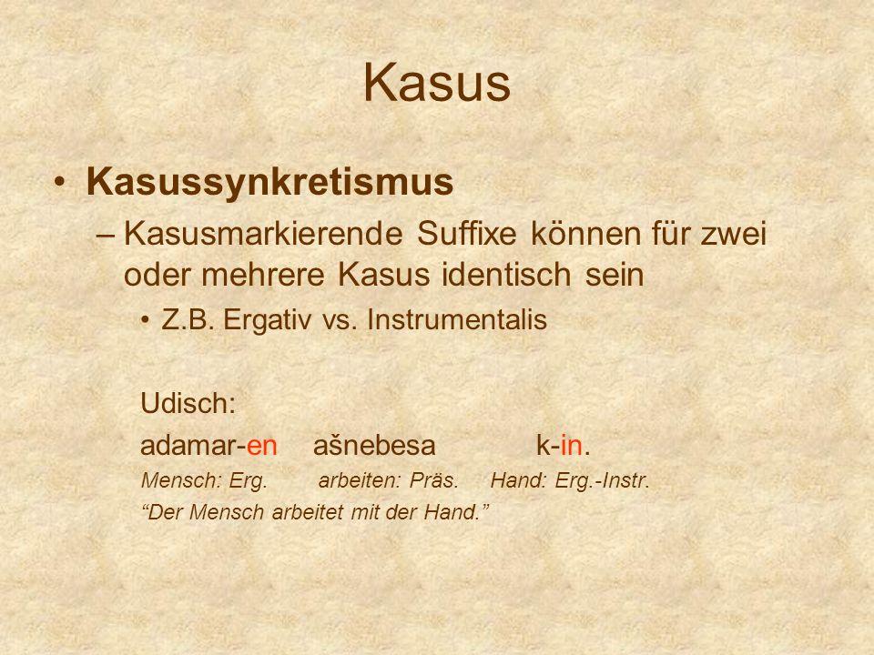 Kasus Kasussynkretismus –Kasusmarkierende Suffixe können für zwei oder mehrere Kasus identisch sein Z.B. Ergativ vs. Instrumentalis Udisch: adamar-en
