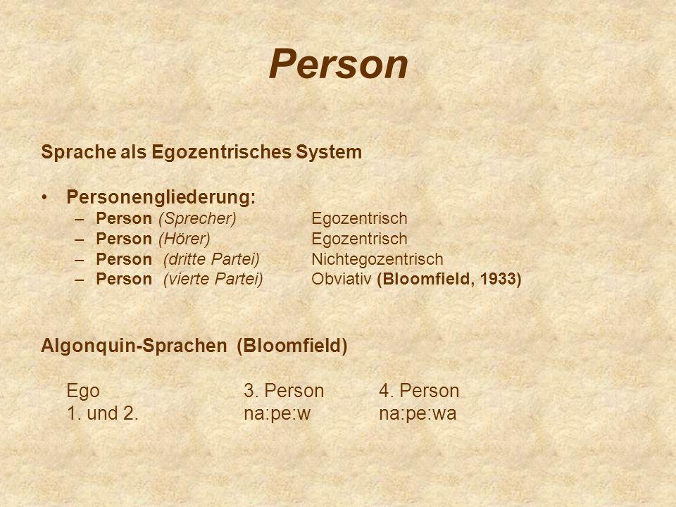 Person Sprache als Egozentrisches System Personengliederung: –Person (Sprecher)Egozentrisch –Person (Hörer)Egozentrisch –Person (dritte Partei)Nichteg