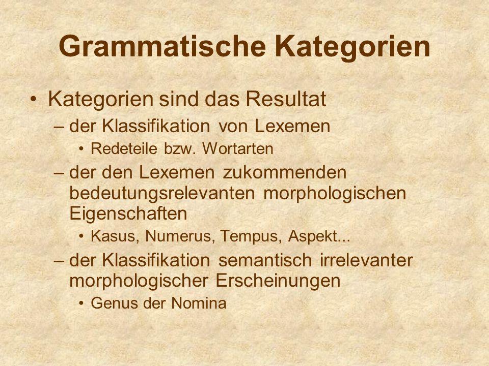 Grammatische Kategorien Kategorien sind das Resultat –der Klassifikation von Lexemen Redeteile bzw. Wortarten –der den Lexemen zukommenden bedeutungsr