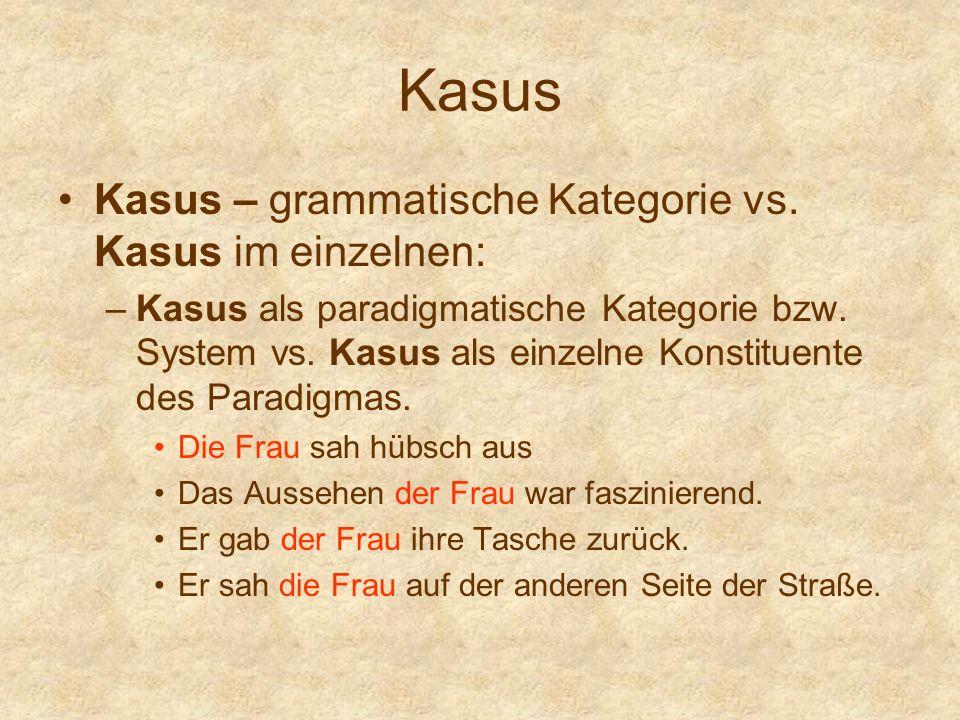 Kasus Kasus – grammatische Kategorie vs. Kasus im einzelnen: –Kasus als paradigmatische Kategorie bzw. System vs. Kasus als einzelne Konstituente des