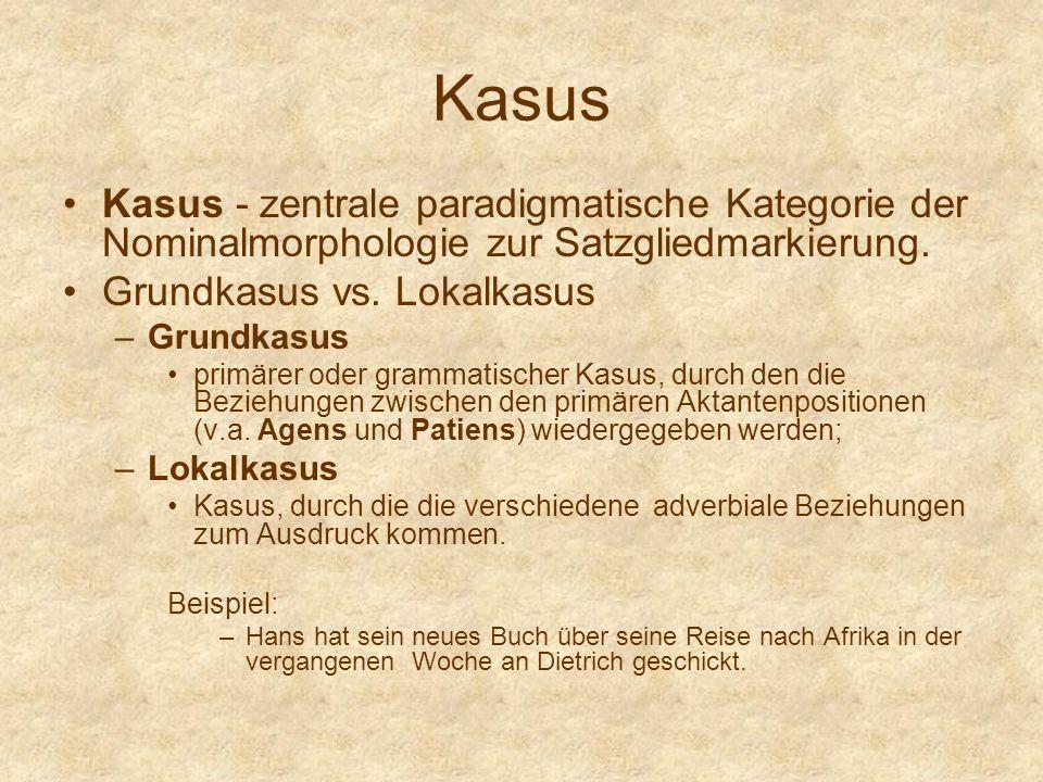 Kasus Kasus - zentrale paradigmatische Kategorie der Nominalmorphologie zur Satzgliedmarkierung. Grundkasus vs. Lokalkasus –Grundkasus primärer oder g