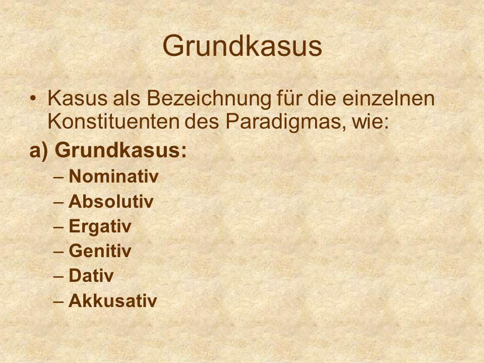 Grundkasus Kasus als Bezeichnung für die einzelnen Konstituenten des Paradigmas, wie: a) Grundkasus: –Nominativ –Absolutiv –Ergativ –Genitiv –Dativ –A