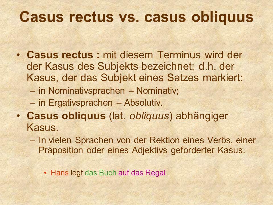 Casus rectus vs. casus obliquus Casus rectus : mit diesem Terminus wird der der Kasus des Subjekts bezeichnet; d.h. der Kasus, der das Subjekt eines S