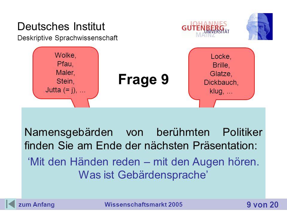 Deutsches Institut Deskriptive Sprachwissenschaft Frage 9 Wie werden Namen in DGS wiedergegeben? Orte und Personen haben eine eigene Namensgebärde. Ei