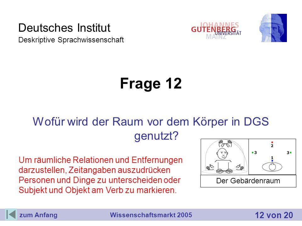 Deutsches Institut Deskriptive Sprachwissenschaft Frage 12 Wofür wird der Raum vor dem Körper in DGS genutzt? Wissenschaftsmarkt 2005 Der Gebärdenraum