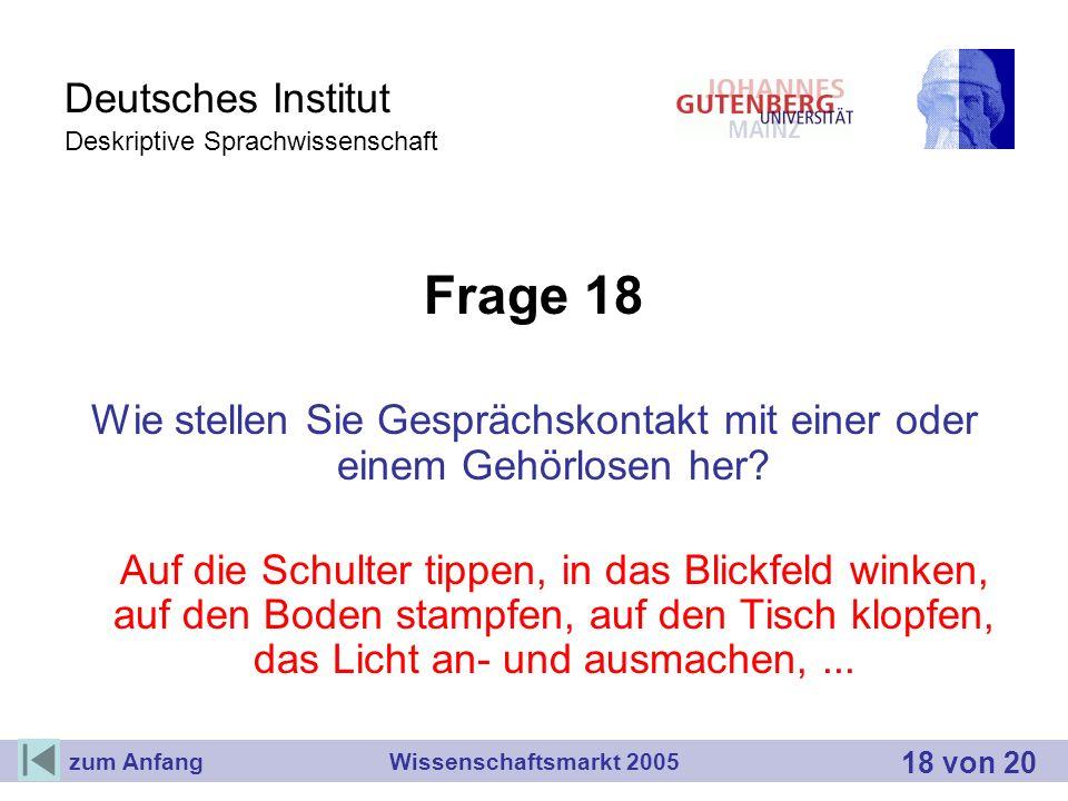 Deutsches Institut Deskriptive Sprachwissenschaft Frage 18 Wie stellen Sie Gesprächskontakt mit einer oder einem Gehörlosen her? Auf die Schulter tipp