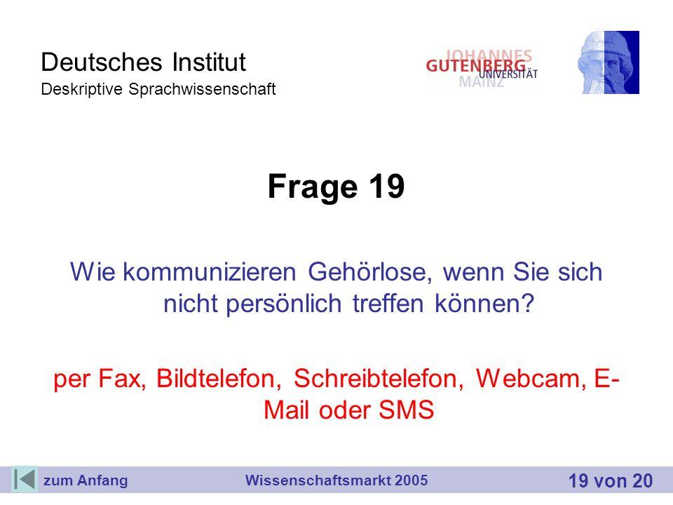Deutsches Institut Deskriptive Sprachwissenschaft Frage 19 Wie kommunizieren Gehörlose, wenn Sie sich nicht persönlich treffen können? per Fax, Bildte