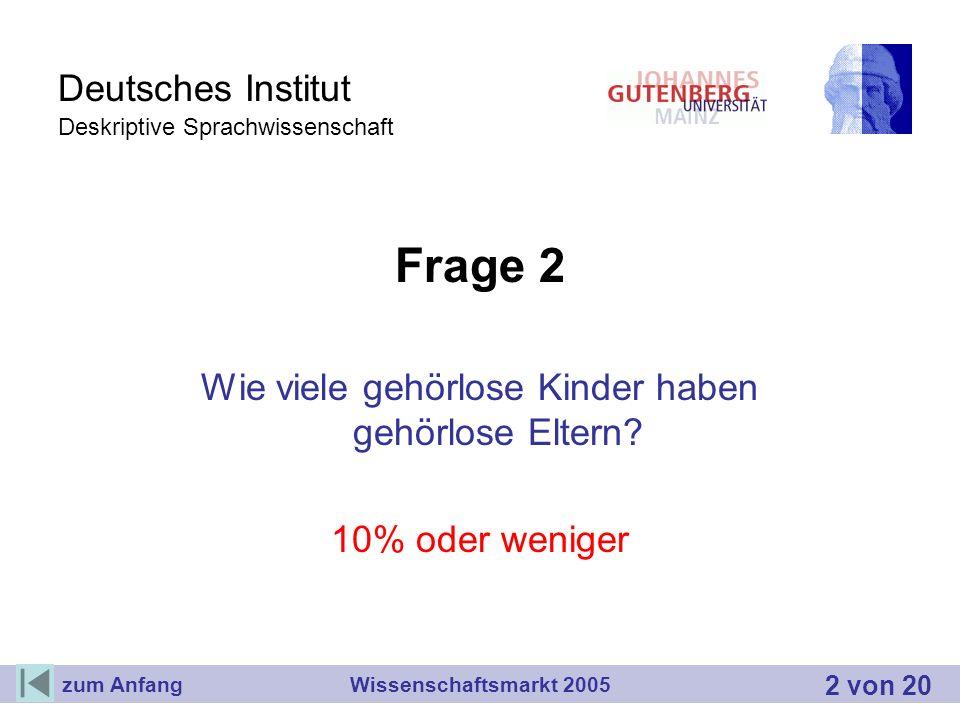 Deutsches Institut Deskriptive Sprachwissenschaft Frage 2 Wie viele gehörlose Kinder haben gehörlose Eltern? 10% oder weniger Wissenschaftsmarkt 2005