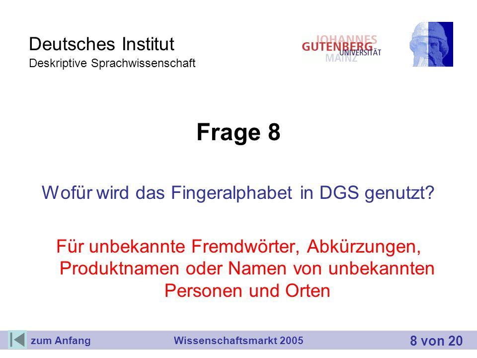 Deutsches Institut Deskriptive Sprachwissenschaft Frage 8 Wofür wird das Fingeralphabet in DGS genutzt? Für unbekannte Fremdwörter, Abkürzungen, Produ