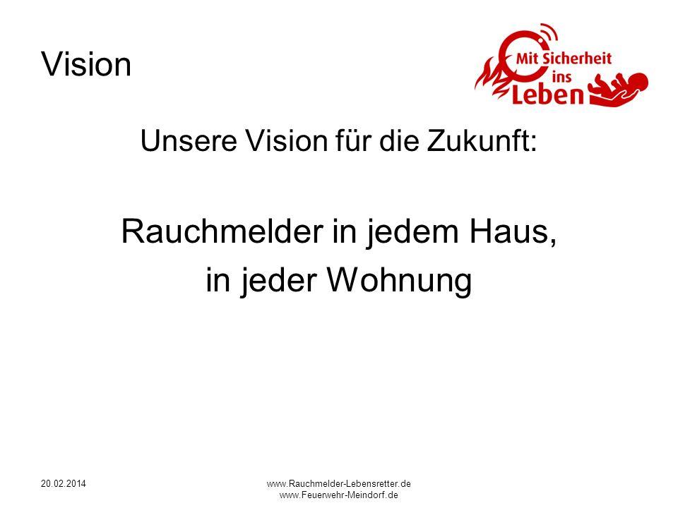 20.02.2014www.Rauchmelder-Lebensretter.de www.Feuerwehr-Meindorf.de Vision Unsere Vision für die Zukunft: Rauchmelder in jedem Haus, in jeder Wohnung