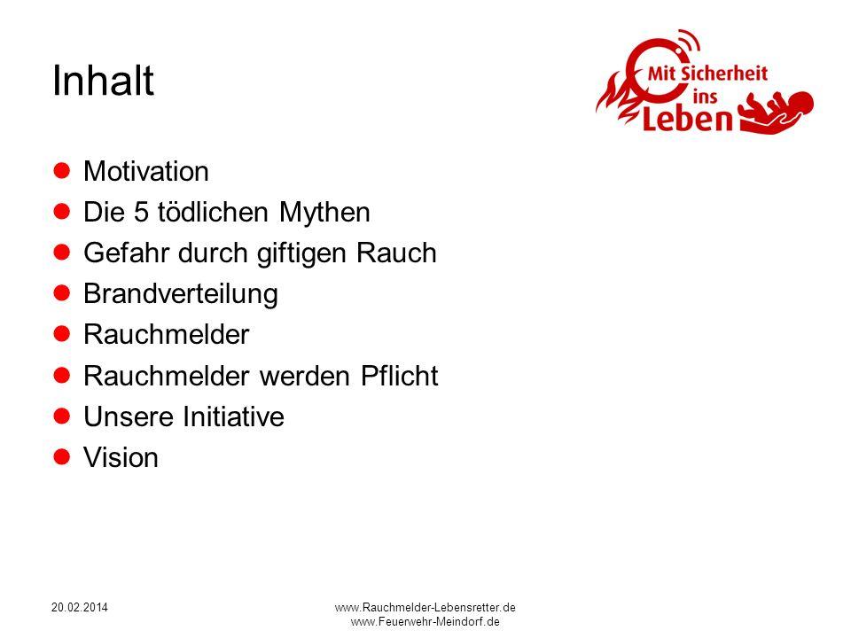 www.Rauchmelder-Lebensretter.de www.Feuerwehr-Meindorf.de Inhalt Motivation Die 5 tödlichen Mythen Gefahr durch giftigen Rauch Brandverteilung Rauchme