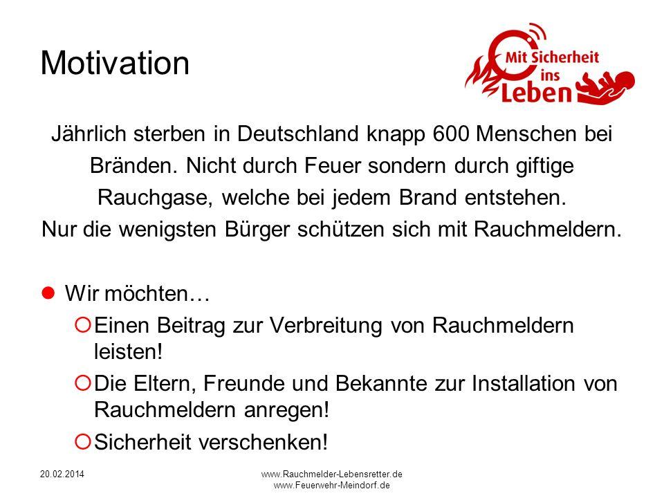 20.02.2014www.Rauchmelder-Lebensretter.de www.Feuerwehr-Meindorf.de Motivation Jährlich sterben in Deutschland knapp 600 Menschen bei Bränden.