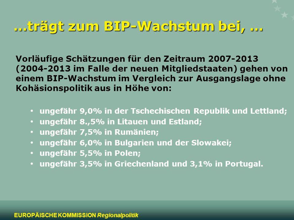 13 EUROPÄISCHE KOMMISSION Regionalpolitik …trägt zum BIP-Wachstum bei, … Vorläufige Schätzungen für den Zeitraum 2007-2013 (2004-2013 im Falle der neu