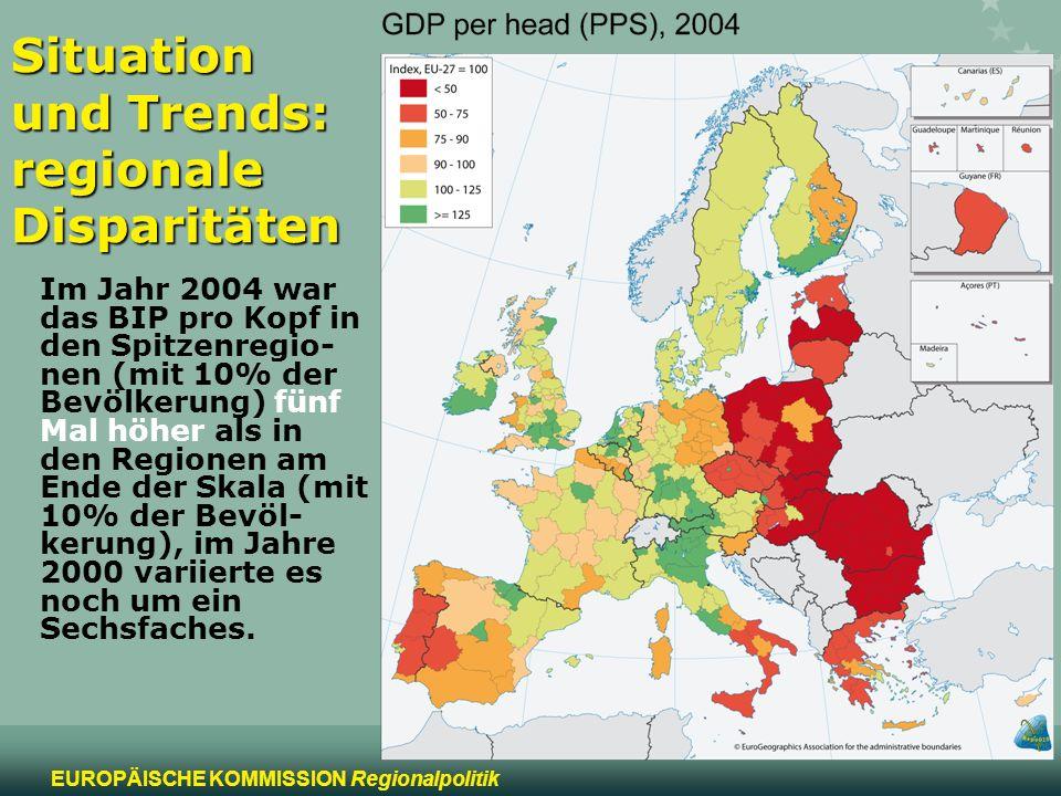 2 EUROPÄISCHE KOMMISSION Regionalpolitik Situation und Trends: regionale Disparitäten Im Jahr 2004 war das BIP pro Kopf in den Spitzenregio- nen (mit