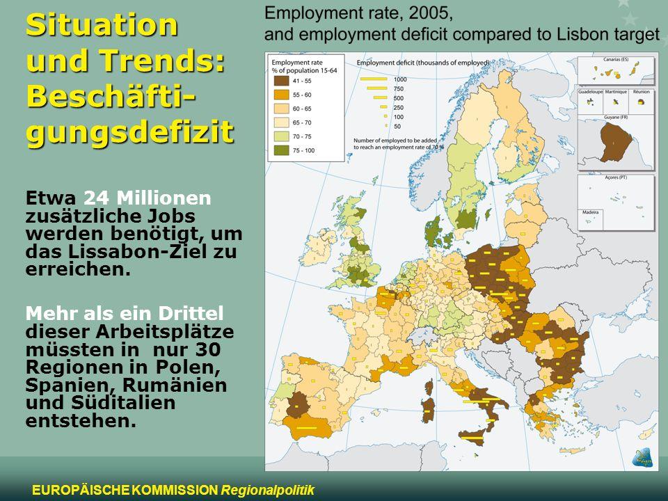 4 EUROPÄISCHE KOMMISSION Regionalpolitik Situation und Trends: Beschäfti- gungsdefizit Etwa 24 Millionen zusätzliche Jobs werden benötigt, um das Liss