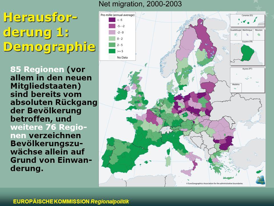 7 EUROPÄISCHE KOMMISSION Regionalpolitik Herausfor- derung 1: Demographie In weiten Teilen Spaniens, Italiens und Griechenlands befinden sich ledig- lich 2 Personen in Beschäftigung im Verhältnis zu jeder Person im Renten- alter, während es im EU-Durchschnitt ungefähr 3 Perso- nen sind.