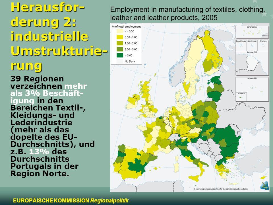 8 EUROPÄISCHE KOMMISSION Regionalpolitik Herausfor- derung 2: industrielle Umstrukturie- rung 39 Regionen verzeichnen mehr als 3% Beschäft- igung in d
