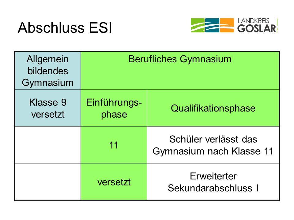 Abschluss ESI Allgemein bildendes Gymnasium Berufliches Gymnasium Klasse 9 versetzt Einführungs- phase Qualifikationsphase 11 Schüler verlässt das Gym