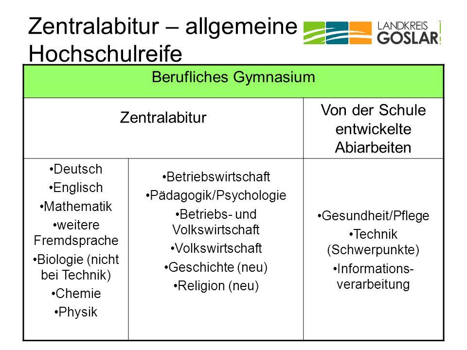 Zentralabitur – allgemeine Hochschulreife Berufliches Gymnasium Zentralabitur Von der Schule entwickelte Abiarbeiten Deutsch Englisch Mathematik weite