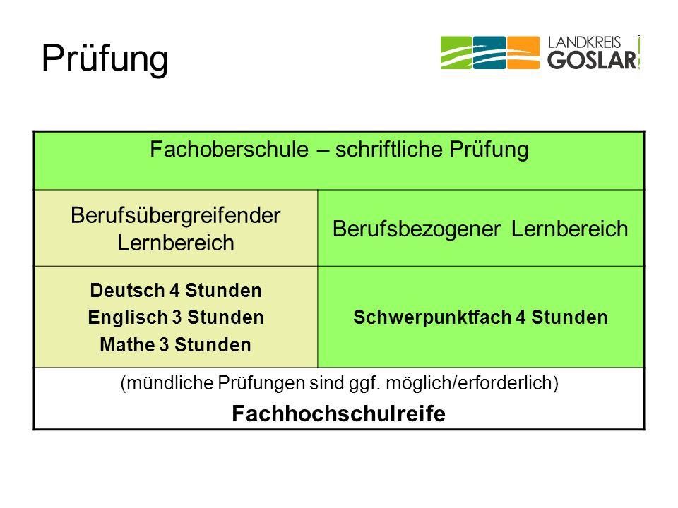 Prüfung Fachoberschule – schriftliche Prüfung Berufsübergreifender Lernbereich Berufsbezogener Lernbereich Deutsch 4 Stunden Englisch 3 Stunden Mathe